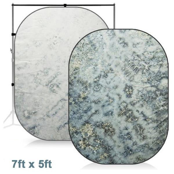 7 x 5 ft. Lake Side, Teal Blue, Forest Color, Collapsible Pop Out / Foldable Muslin Background Panel Disc, Light Reflector with Carry Bag, Photo Soft Lighting Effect, WMLS4140