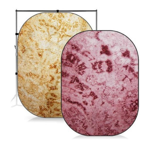 7 x 5 ft. Tie Dye Royal Tone Scarlet Red & Brown Yellow Collapsible Pop Out / Foldable Muslin Background Panel Disc, Light Reflector with Carry Bag, WMLS4142