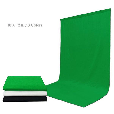 10 ft X 12 ft Black & Green & White Chromakey Photo Video Photography Studio Fabric Backdrop Background Screen, WMLS4143
