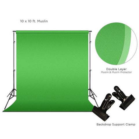 Green Chromakey Photo Video Studio Fabric Backdrop 10 x 10 ft. with Backdrop Support Structure Stand System, Photo Spring Clamp, Background Screen, Pure Green Muslin, WMLS4217