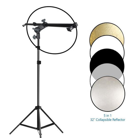 Swivel Head Reflector Arm Support Holder with Light Stand Tripod and 32 inch 5 Color in 1 Round Reflector Disc Panel, Photo Studio Kit, WMLS4227