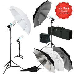 600W 5500K Photo Video Studio Continuous Lighting Kit, UL 1573 ETL Listed Photo Bulb Socket with Umbrella Reflector Insertion, White & Silver & Gold Umbrella, WMLS4286