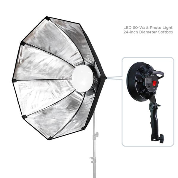 144 LED Photo Light 30 Watt & 24 inch Diameter Octangle Softbox Outside Black Inside Silver, Lighting with Handle Bar & Grip, Tripod Mountable, Continuous Light Kit, WMLS4190
