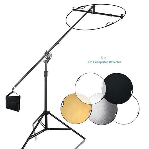Swivel Reflector Support Holder Arm, 2 Way Rotatable Boom Stand Arm Bar with 43 Inch Diameter 5 Color in 1 Round Collapsible Reflector Disc Panel Boom Stand Kit, Sand Bag, WMLS4236