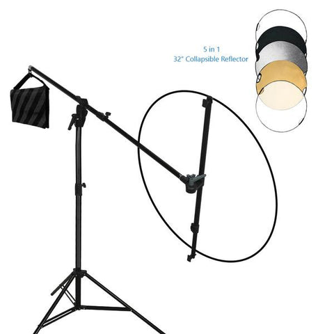 Swivel Reflector Support Holder Arm, 2 Way Rotatable Boom Stand Arm Bar with 32 Inch Diameter 5 Color in 1 Round Collapsible Reflector Disc Panel Boom Stand Kit, WMLS4247
