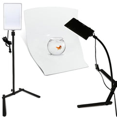 2 Sets of LED Light Panel with Goose Neck Extension Adapter, Mini Table Top Camera Light Stand, Seamless Studio Module Background Tray, Photo Lighting Studio Kit, WMLS4328