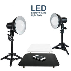 "2 x 18W LED Table Top Lighting Stand Kit with 12"" Acrylic Black & White Reflective Photo Background, Photo Studio, WMLS4016"