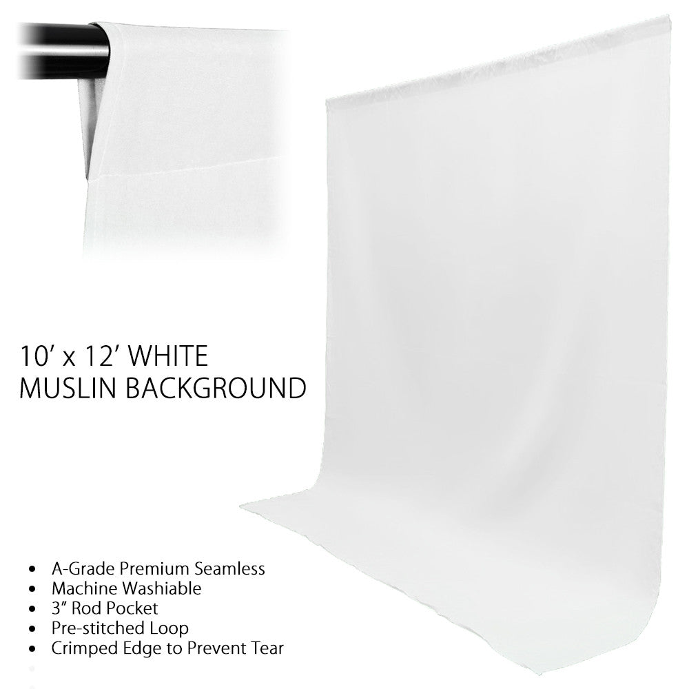 10x12' ft. White 100% Seamless Muslin Backdrop Machine Washable Background for Photo Video Lighting Set by Loadstone Studio