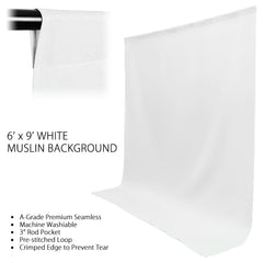 6'x 9' Ft. Chromakey White 100% Seamless Muslin with Background Support System for Photo Video Lighting Set by Loadstone Studio