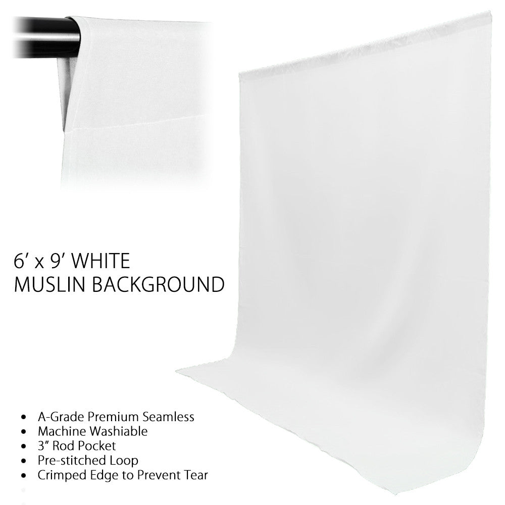 6' x 9' Ft. Green, Black, White Chromakey, Seamless Muslin Backdrop with Background Support System by Loadstone Studio