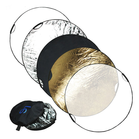 "43"" 5-in-1 Collapsible Reflector Disc Panel with handles Silver, Gold, White, Black, Translucent in Carry Bag by Loadstone Studio"