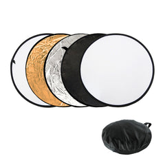 "32"" 5-in-1 Collapsible Reflector Disc Panel Silver, Gold, White, Black, Translucent in Carry Bag by Loadstone Studio"
