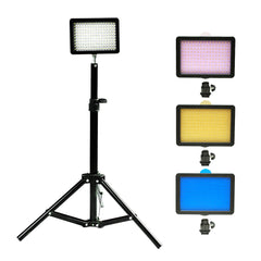 "160 LED Digital Photo Video Compact Dimmable Lighting Panel Kit with Color Gels, 28"" Portable Light Stand"