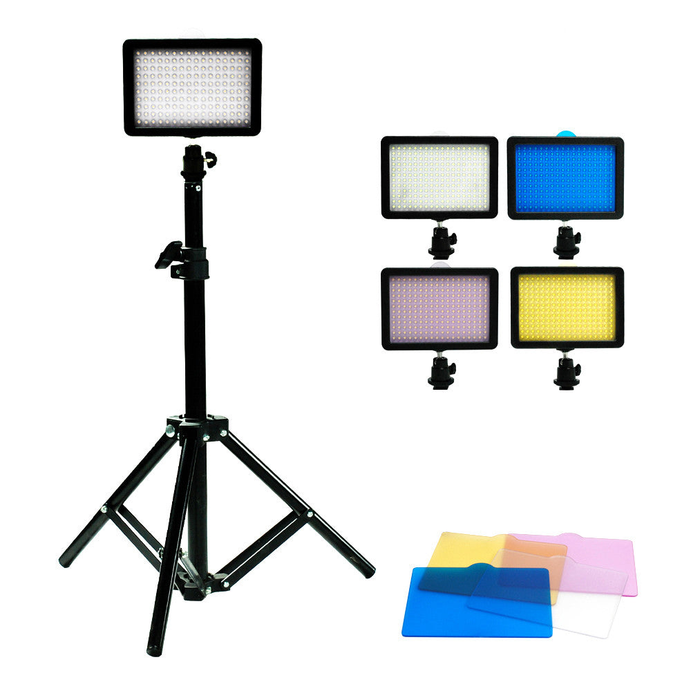 "216 LED Digital Photo Video Compact Dimmable Lighting Panel Kit with Color Gels, 28"" Portable Light Stand"