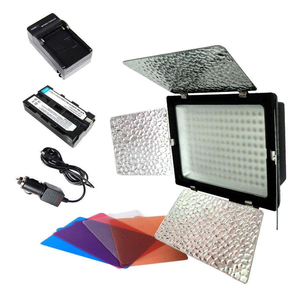 200 LED Photo Video Ultra Bright Dimmable Hot Shoe Mount Lighting Panel with Battery, Charger, Barndoor by Loadstone Studio