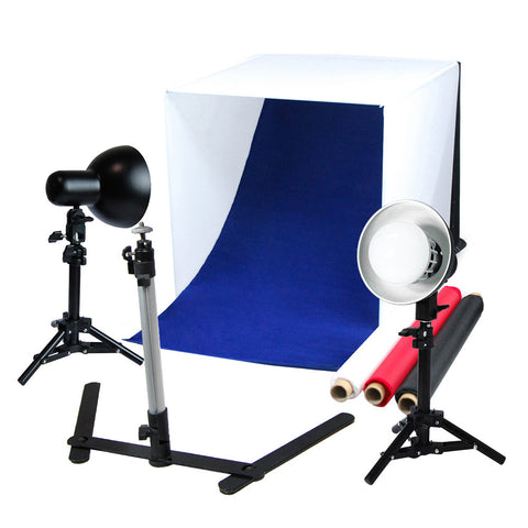 "24"" LED Folding Tabletop Photo Tent Cube Box Lighting Kit with 2x 18W Lights, 2x Light Stands, 4x Backdrops, 1x Tripod"