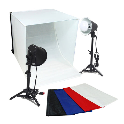 "24"" LED Folding Tabletop Photo Tent Open Top Cube Box Lighting Kit with 2x 18W Lights, 2x Light Stands, 4x Backdrops"