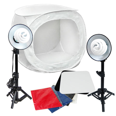 "24"" CFL Photo Tent Cube Box Lighting Kit with 2x 30W Lights, 2x Display Tables, 2x Mini Stands, 4x Backdrops"