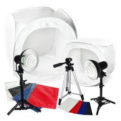 "30"" 12"" CFL Photo Tent Cube Box Lighting Kit with 2x 30W Lights, 2x Light Stands, 1x 50"" Tripod, 1x Carry Bag"