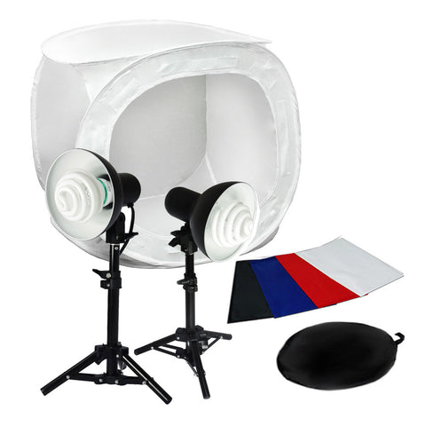 "24"" Complete Product Photography Tent Kit with 2x 6"" Reflector Lights, 2x 30W CFL Bulbs, 4 Color Backdrops"