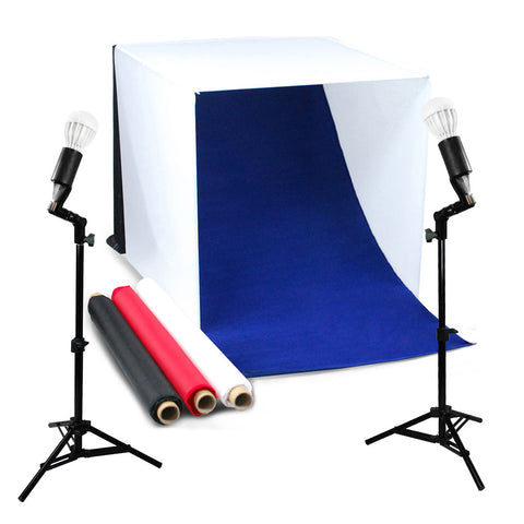 "24"" LED Folding Tabletop Photo Tent Cube Box Lighting Kit with 2x 7W Lights, 2x Light Stands, 4x Backdrops, 1x Tripod"