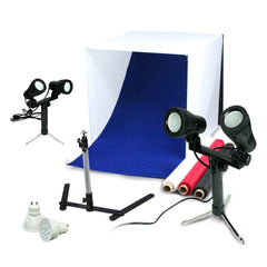 "24"" LED Folding Tabletop Photo Tent Cube Box Lighting Kit with 2x Dual Head LED, 1x Tripod, 2x Extra Bulbs"