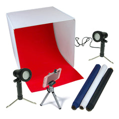 "16"" LED Folding Tabletop Photo Tent Cube Box Lighting Kit with 2x Portable LED Lights, 1x Mini Tripod, 4x Backdrops"