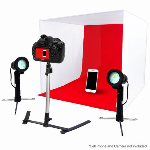 "24"" LED Folding Tabletop Photo Tent Cube Box Lighting Kit with 2x Portable LED Lights, 1x Tripod, 4x Backdrops"