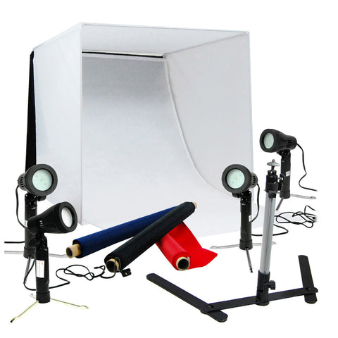 "20"" Multiple LED Folding Tabletop Photo Tent Cube Box Lighting Kit with 4x LED Lights, 1x Tripod"