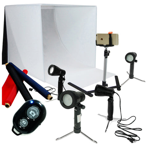 "24"" Multiple LED Folding Tabletop Photo Tent Cube Box Lighting Kit with 4x LED Lights, 1x Cell Phone Tripod"