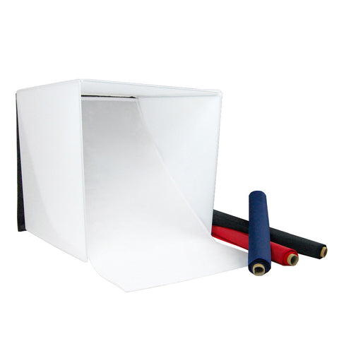 "24"" Tabletop Product Photography Lighting Tent Cube Box with Multiple Color Backdrops in Red, Black, White, Blue"