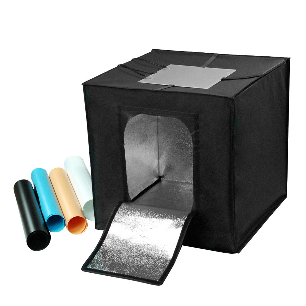 "16"" Black Box Photography Lighting Tent Cube Set with Custom 60 LED Panel Light and Multicolor Backgrounds"