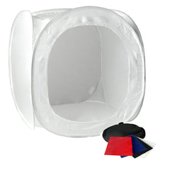"24"" Tabletop Product Photo Collapsible Light Tent Cube Box with Multiple Color Backdrops in Red, Black, White, Blue"