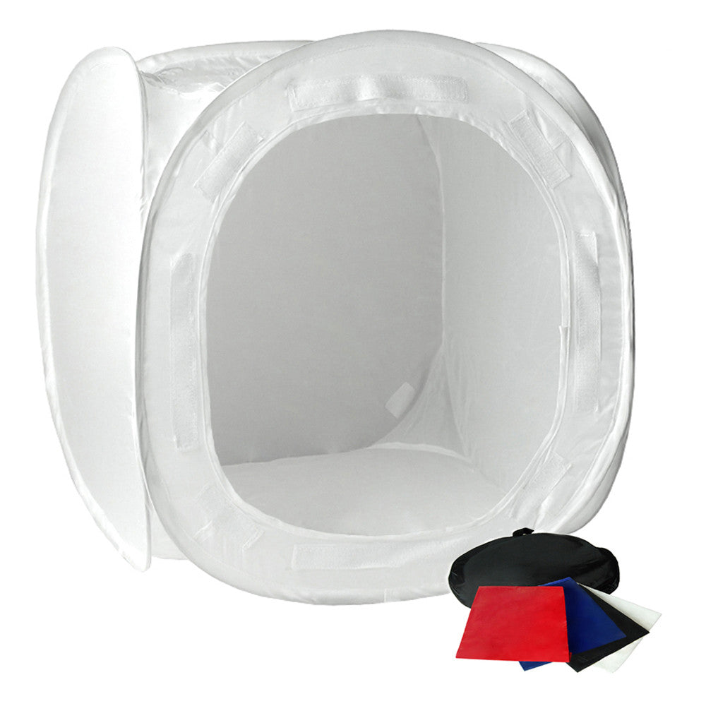"30"" Tabletop Product Photo Collapsible Light Tent Cube Box with Multiple Color Backdrops in Red, Black, White, Blue"