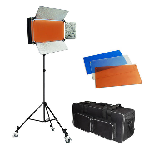 500 LED Continuous Dimmable Lighting Panel Kit with Barndoor, Color Gels, Locking Casters, Carry Case