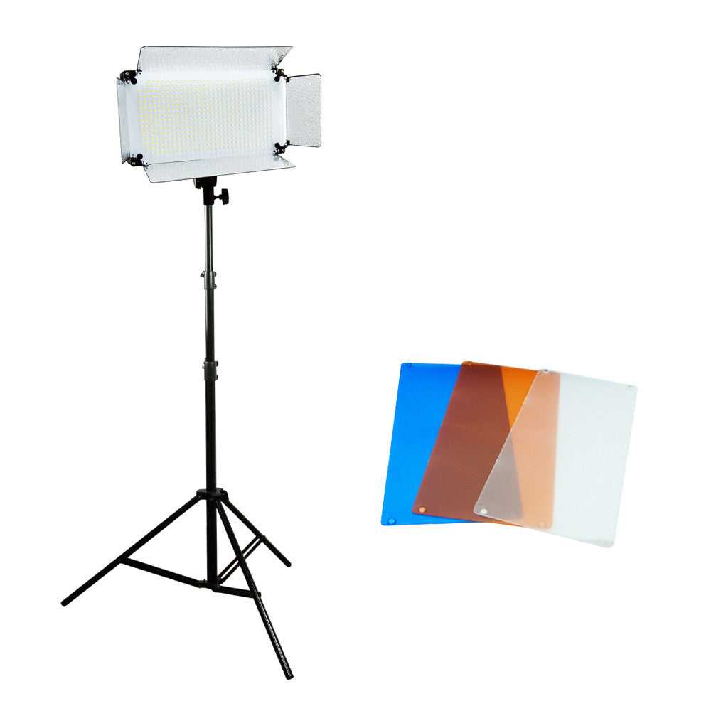 500 LED Super Bright Continuous Dimmable Lighting Panel Kit with Barndoor on Heavy Duty Light Stand