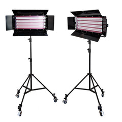 2x 1100W Fluorescent Cool Light 4-Bank Photography Video Lighting Kit with Barndoor, Heavy Duty Stand, Casters by Loadstone Studio