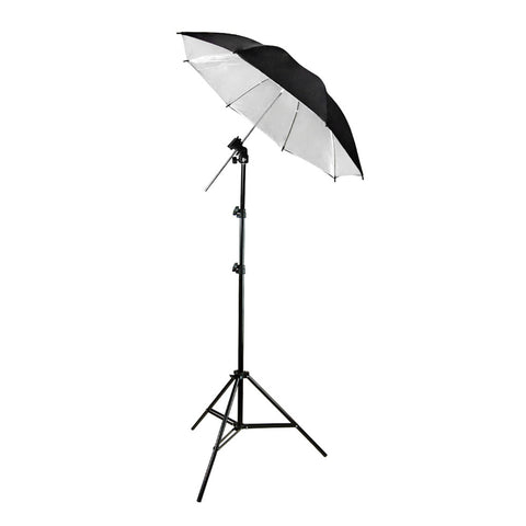 "Tilt Off-Camera External Speedlite Flash Hotshoe Mount with 34"" Black/Silver Soft Umbrella, 86"" Light Stand"