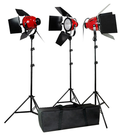 3x 800W High Output Halogen Continuous Light Heads with Barndoors, 3x Light Stands, and Custom Travel Case by Loadstone Studio