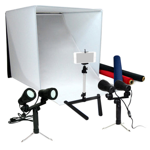 "24"" LED Tabletop Photo Tent Cube Box Lighting Kit with 2x Portable LED Lights, 1x Tripod, 1x Cell Phone Holder"