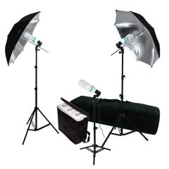 600W 3x 45W Photography Lighting Kit with 2x Black/Silver Umbrella, 2x Light Stand, 1x Back Light Stand by Loadstone Studio