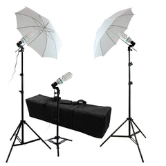 600W 3x 45W Photography Lighting Kit with 2x White Shoot-Thru Umbrella, 2x Light Stand, 1x Back Light Stand by Loadstone Studio