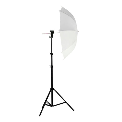 External Flash Speedlite Hot Shoe Mount with White Diffusion Umbrella on Stand for Photography Lighting
