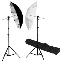 2x Hot Shoe Mount External Speedlite Flash Stand with White and Black/Silver Umbrellas for Photo Video Lighting