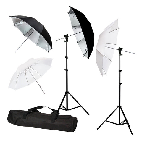 Off-Camera Flash Shoe Mount Kit with 2x White Shoot-Thru, 2x Silver Reflective Umbrellas, 2x Light Stands