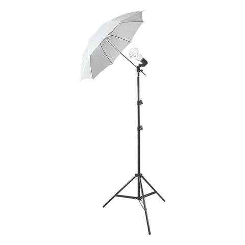 Single Photography Video Lighting Stand with 1x 30W Fluorescent CFL Bulb and All White Diffuse Umbrella by Loadstone Studio