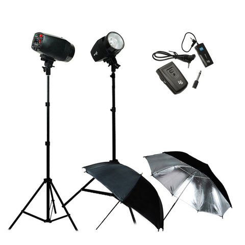 Dual Monohead Flash Strobe Lighting Kit with 2x Light Stands, 2x Silver Umbrellas, and Transmitter Receiver