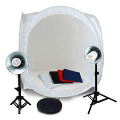 "30"" White Photo Tent Cube and Multiple Backdrop for Tabletop Product Photography with 45W CFL Bulbs"