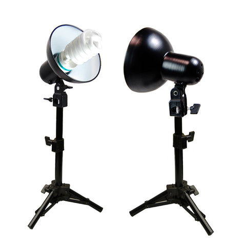 2x 45W Adjustable Lights on Height Adjustable Stand for Tabletop Portable Photography and Product Shoot by Loadstone Studio