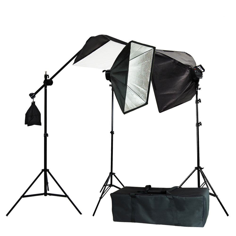 lighting set. 3x Triple Softbox Photography Lighting Set With Light Stands, Boom Arm Extension, And V